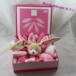 Doudou flat rabbit DOUDOU AND COMPAGNY Collector pink petal DC2791 21 cm