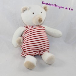 Musical bear bear LINVOSGES red and white striped 28 cm