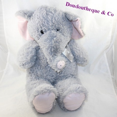 Large plush elephant MAX - SAX grey satin knot 58 cm
