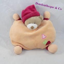 Doudou semi flat bear NATTOU heart orange pink bell 20 cm