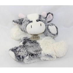 Doudou marionnette vache HISTOIRE D'OURS gris et blanc 23 cm