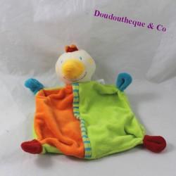 Doudou plat poule BABY CLUB C&A orange vert 22 cm