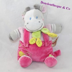Doudou semi-flat cow NICOTOY pink chick attaches nipple 26 cm