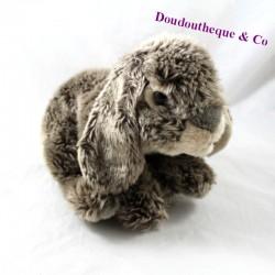 Peluche lapin gris marron oreilles baissées 19 cm