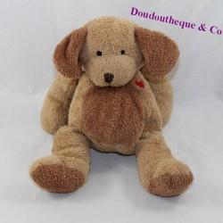 Doudou chien NICOTOY marron coeur rouge 21 cm
