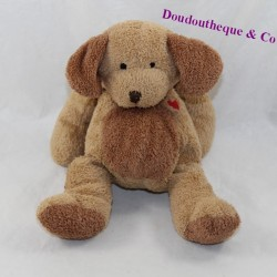 Doudou dog NICOTOY brown red heart 21 cm