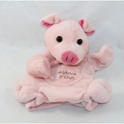 Doudou marionnette cochon HISTOIRE D'OURS rose poche 24 cm