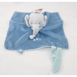 Blanket flat Jack elephant NATTOU Jack Jules and Nestor blue gray triangles 25 cm