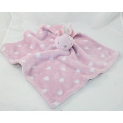 Doudou flat rabbit PRIMARK pink hearts white flowers large 36 cm