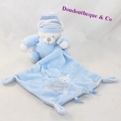 Doudou handkerchief bear MAX & SAX Carrefour bleu