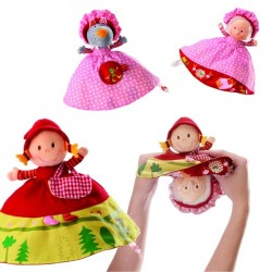 Reversible plush little red riding hood LILLIPUTIANS Grandmother and wolf 3 in 1