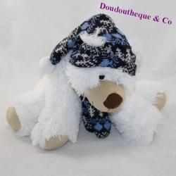 Plush bear ENESCO white scarf and cap