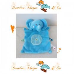 Doudou plat éléphant NICOTOY bleu blanc My tender doudou