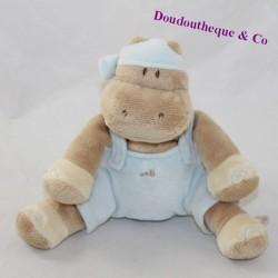 Doudou hippopotamus NOUKIE'S Les Douzous blue overalls sitting 13 cm