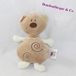 Doudou semi flat bear BABY CLUB C&A brown spirals
