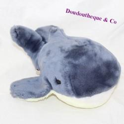 Plush whale MINOUCHE blue yellow