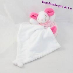 Doudou handkerchief mouse WHITE PINK BARLEY SUGAR