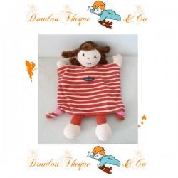 Doudou plat marionnette Fille SAINT JAMES rayé blanc rouge 29 cm