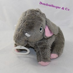 Musical plush pink gray elephant