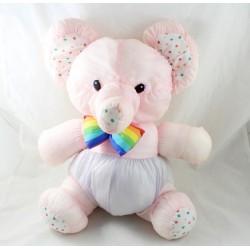 Vintage elephant plush puffalump style in pink parachute canvas multicolor knot 40 cm