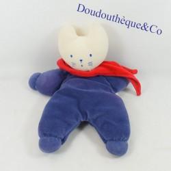 Doudou cat COROLLA semi flat blue dress scarf red 30 cm