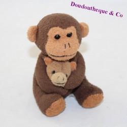 Mini plush monkey mom and her baby brown
