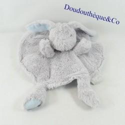 Doudou flat rabbit TOM & ZOÉ round puppet gray blue 26 cm