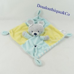 Doudou flat cat SIMBA TOYS disguised as yellow blue rabbit So cute... 22 cm