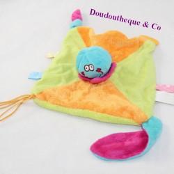 Doudou flat octopus BADABULLE green orange