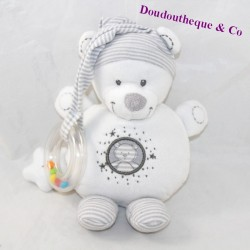 Doudou d'éveil bear NICOTOY white gray bell star 21 cm