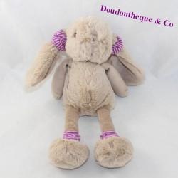 Plush rabbit BUKOWSKI beige socks darling purple pink 28 cm