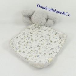 Blanket flat rabbit BOUCHARA Eurodif gray and flowery diamond 32 cm