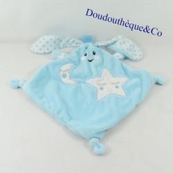 Doudou flat rabbit AUCHAN blue white diamond star and moon 31 cm
