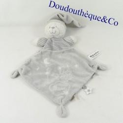 Doudou flat diamond bear MAX & SAX gray Moon stripes Carrefour 30 cm