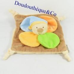Blanket flat bear FUTUROSCOPE brown petals rattle 23 cm