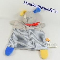 Blanket flat dog CHILDREN'S WORDS gray blue stripes 34 cm