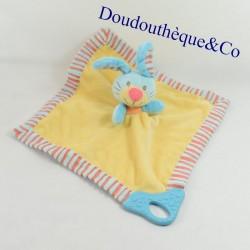 Doudou conejo plano PREMAMAN PLAYGRO anillo de dentición amarillo y azul 31 cm