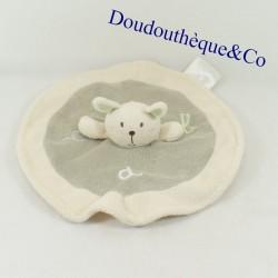 Blanket flat rabbit KING BEAR round ABC gray cream and white 23 cm