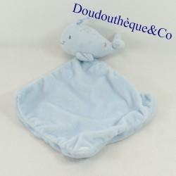 Doudou plat baleine MOTS D'ENFANTS bleu étoiles argentées 30 cm