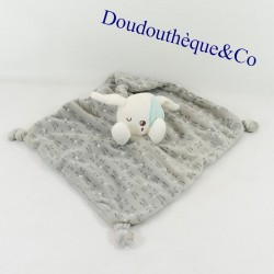 Doudou flat rabbit SIPLEC Leclerc gray and white cocard 22 cm