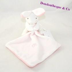Doudou handkerchief rabbit CADET ROUSSELLE white pink