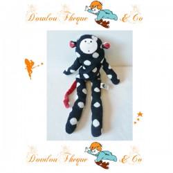 Peluche Singe JELLYCAT noir pois blanc queue rouge 47 cm