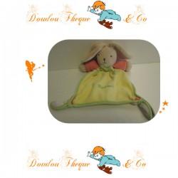 Doudou Plat Lapin vert et jaune TAKINOU 23 cm