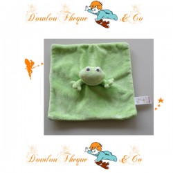 Doudou plat Grenouille LITTLE BUNDLE vert carré