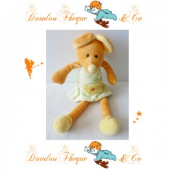 Doudou Souris MAXITA  orange jaune robe verte 28 cm