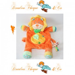 Doudou plat Lion NICOTOY orange jaune feuille attache tétine 28 cm