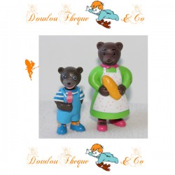 Lot de 2 Figurines Petit Ours Brun BAYARD PRESSE D. BOUR maman et petit ours