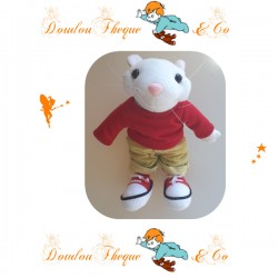 Peluche Souris STUART LITTLE  t-shirt rouge pantalon kaki 28 cm
