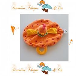Doudou plat Poule Bergamotte la cocote NATURE ET DECOUVERTE orange anneau dentition