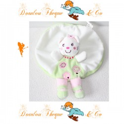 Doudou plat rond Chat NICOTOY fille vert blanc rose fleur 24 cm
